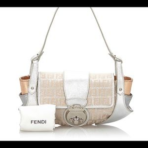 FENDI Zucchino Metallic Leather Shoulder Bag
